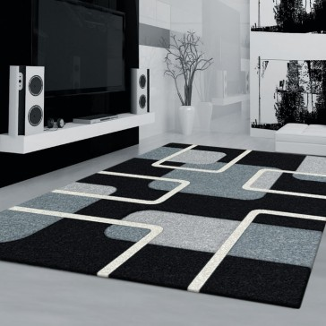 Padding Black Imperial Carving Rug by Saray Rugs