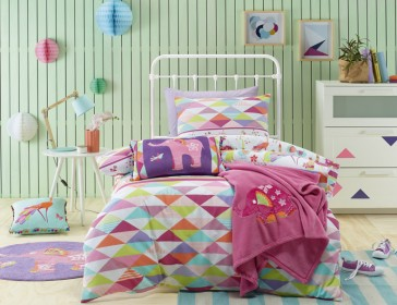 Jiggle & Giggle Peacock Princess Double Quilt Cover Set