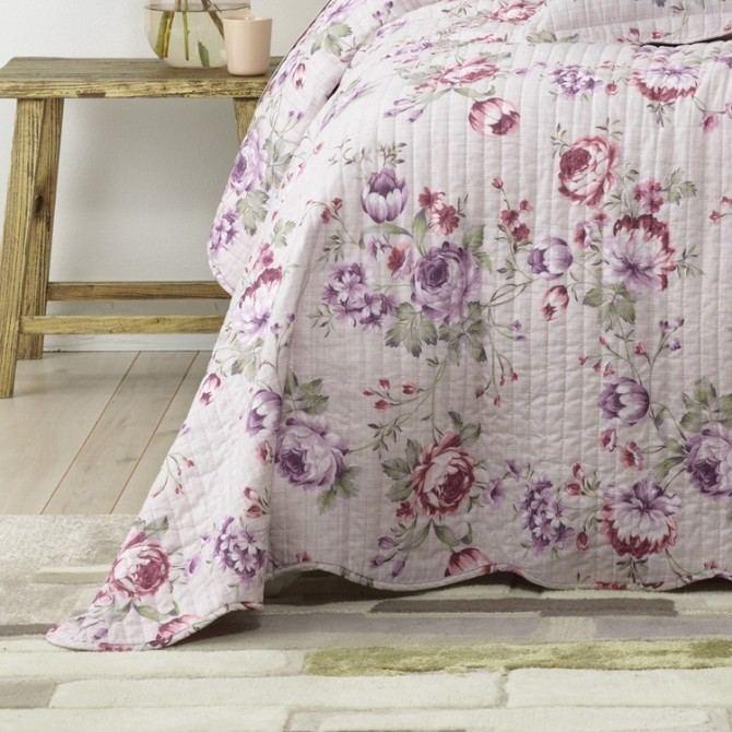 Bianca Dahlia Bedspread Set Lilac