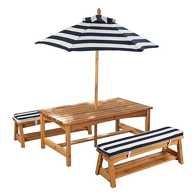 Kidkraft Outdoor Table Amp Chair Set With Cushions Amp Umbrella