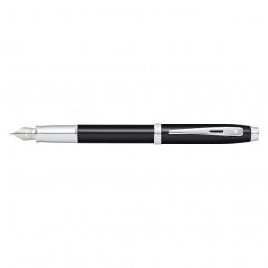Sheaffer 100 Black Lacquer/Chrome Plate Fountain Pen [Medium Nib](Self-Serve Packaging)