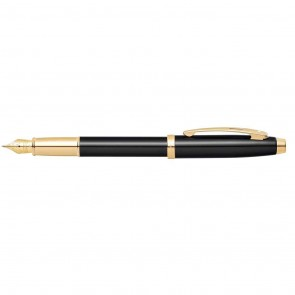 Sheaffer 100 Black Lacquer with Gold Tone Fountain Pen [Medium Nib]