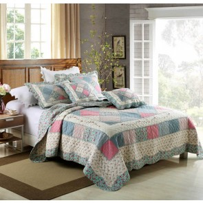 Macey & Moore Tuscany Blue Coverlet Set