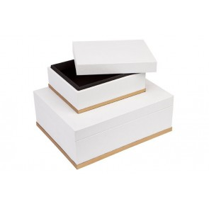 Cafe Lighting Marina Storage Boxes- White Set Of 2