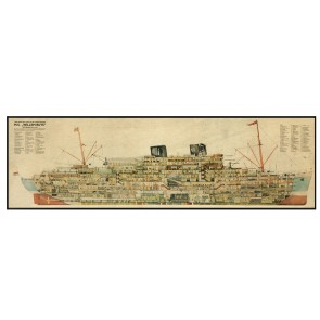 1930's Steamer Cross Section Wall Map by AM Living