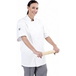 Traditional White Short Sleeve Chef Jacket by Global Chef