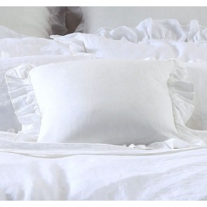 Laundered Linen White Cushion by MM linen