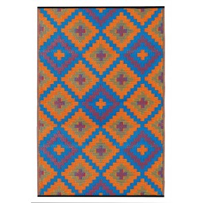 Saman Blue and Orange Outdoor Rug by FAB Rugs