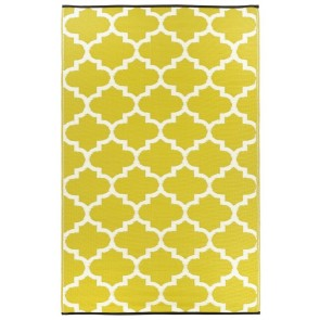 Tangier Celery and White Plastic Outdoor Rug by FAB Rugs