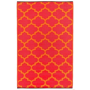 Tangier Orange Peel and Rouge Plastic Outdoor Rug by FAB Rugs