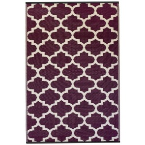 Tangier Plum and White Outdoor Rug by FAB Rugs
