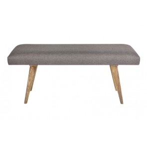 Celeste Grey Upholstered Wooden Bench by Fab Habitat