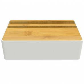AllDock White/Bamboo HybridX Compact Charging Station