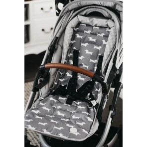 Reversible Sausage Dog/Grey/White Gingham stroller seat liner by OiOi