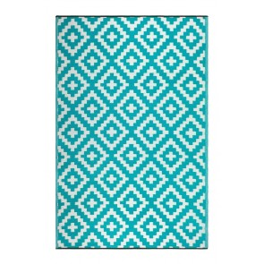 Aztec Teal and White by FAB Rugs
