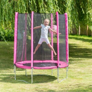 Plum Play 4.5ft Junior Pink Trampoline and Enclosure