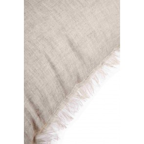 Beige & White Linen Fringed European Cushion by Alexander Santorini