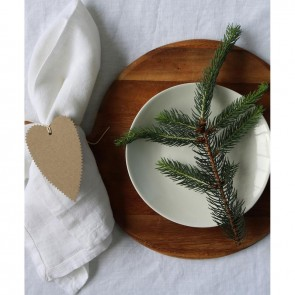 Linen and Moore Moss White Table Cloth