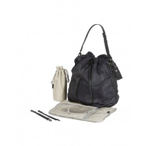Drawstring Protea Black/Grey Tote Nappy Bag by OiOi
