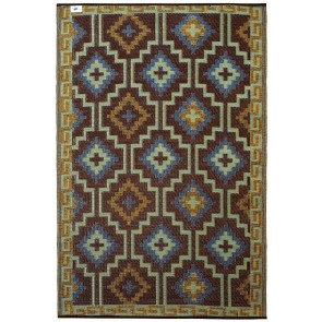 Lhasa Royal Blue and Chocolate Brown Outdoor Rug by FAB Rugs