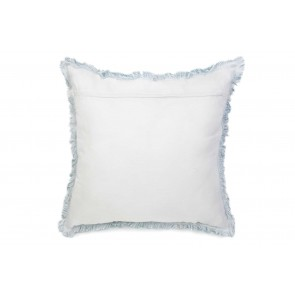 Duck Egg Blue & White Linen Fringed European Cushion by Alexander Santorini