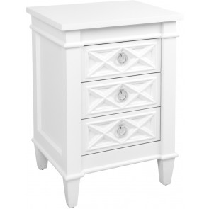 Cafe Lighting Plantation Bedside Table -  Small White