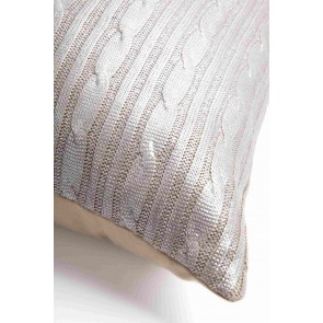 Silver Cable Knit Kav Cushion by Alexander Santorini