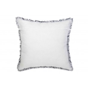 Navy & White Linen Fringed European Cushion by Alexander Santorini