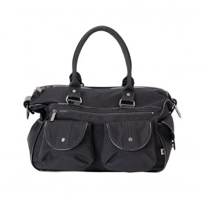 OiOi Carryall Black Wash Nylon / Patent Trim Nappy Bag