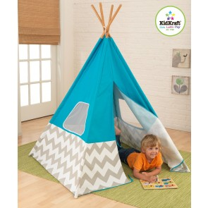 Turquoise Teepee with Grey & White Chevron by Kidkraft