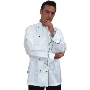 GC Classic Long Sleeve 100% Cotton Chef Jacket (Black Trim) by Global Chef