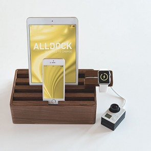 AllDock Walnut 4-Piece Charging Station Set