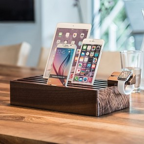 All Dock Walnut 5-Piece Charging Station Set