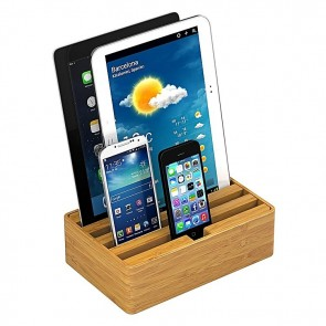 AllDock Bamboo 4-Port Charging Station