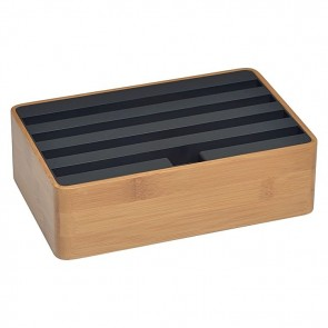 AllDock Combination 4-Port Charging Station, Bamboo/Black