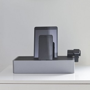 AllDock Aluminium Grey/Black 6-Port Charging Station
