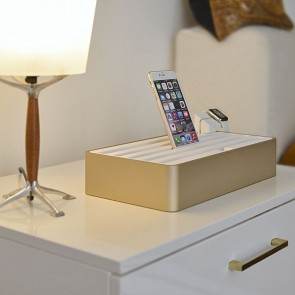 AllDock Aluminium Gold/White 6-Port Charging Station