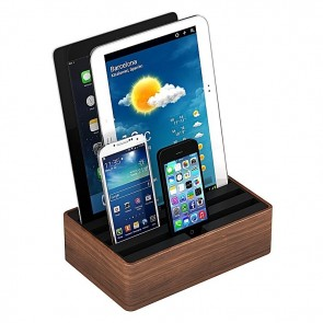 AllDock Combination 4-Port Charging Station, Walnut/Black