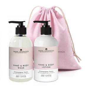 Angel Aromatics Hand and Body Wash + Lotion 2 x 500m Champagne Peony Gift Set