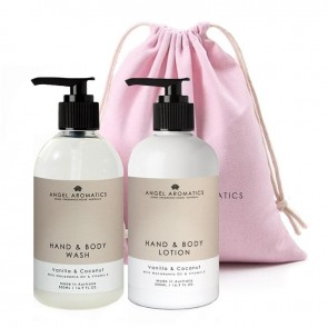 Angel Aromatics Hand and Body Wash + Lotion 2 x 500ml Vanilla and Coconut Gift Set