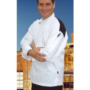 CR Modern White Long Sleeve Chef Jacket (Black Panel) by Global Chef