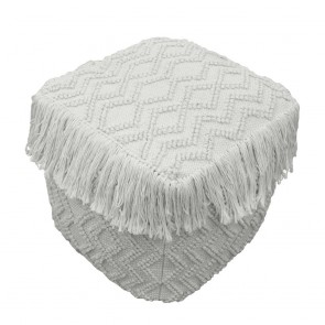 Pre Order Axel Ottoman 45X45X45CM Ivory by J Elliot Home