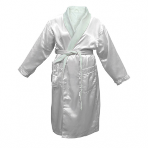 Bambury Satin Plush White Robe