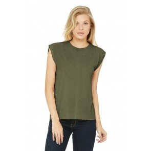 Bella+canvas Women's Flowy Muscle Tee With Rolled Cuffs