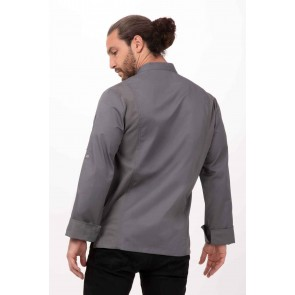 Lansing Mens Grey Chef Jacket by Chef Works
