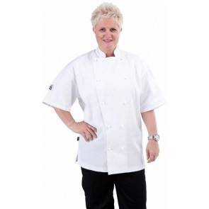 CR Classic White Short Sleeve Chef Jacket by Global Chef