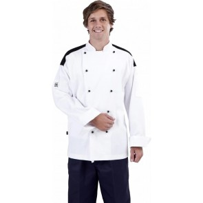 CR Classic White Long Sleeve Chef Jacket (Black Panel) by Global Chef