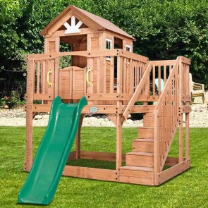 Lifespan Kids Backyard Discovery Scenic Heights Cubby House with 1.8m Slide