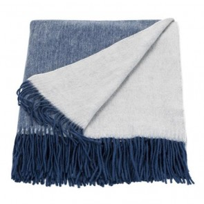 Linen and Moore Cashmere Mix Throw Ink/Eggshell