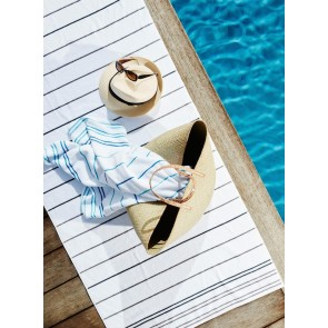 Linen and Moore Santorini Blue/Turquoise Towel